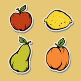 Stickers with fruits