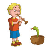 Cartoon boy with a pipe and a snake in a basket