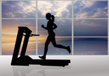 woman runs on a treadmill