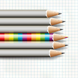 Rainbow pencil near simple, vector Eps10 image.