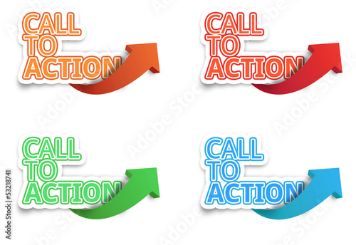 Call to Action, Website click, Internet concept, white isolated
