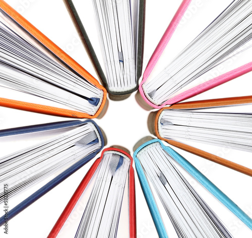 Top view of colorful books in a circle on white background - 53218775