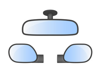 Set of car rear view mirrors