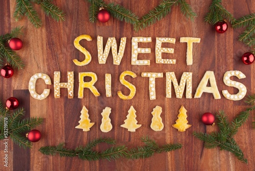 sweet christmas with sweets as decoration