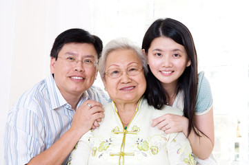 Asian senior woman and her children