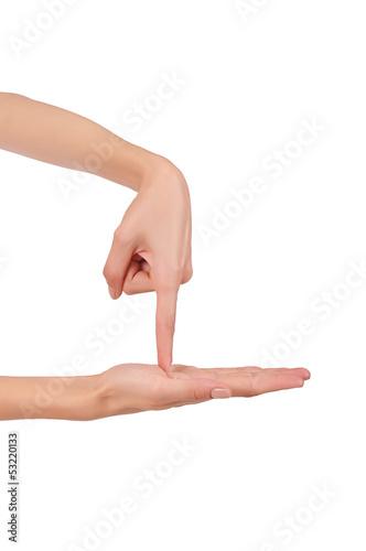 движение указательным пальцем в ладонь другой руки