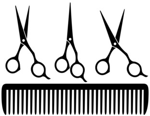 set of professional scissors