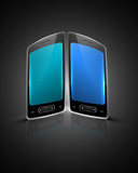 Shiny smart phone or mobile colorful handset background illustra