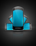 Shiny smart phone or mobile colorful handset reflection vector