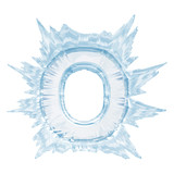 Ice crystal  font. Letter O.Upper case.With clipping path