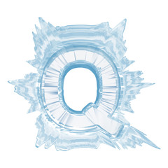 Ice crystal  font. Letter Q.Upper case.With clipping path