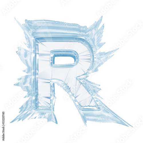 Ice crystal  font. Letter R.Upper case.With clipping path