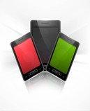 Shiny smart phone or mobile colorful handset presentation backgr