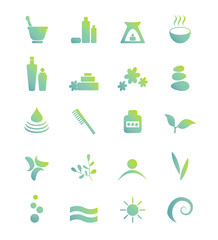 Wellness, spa, beauty and  nature vector icons sets