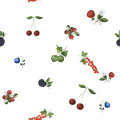 seamless watercolor background berries