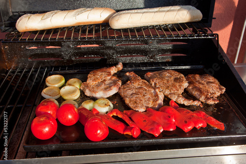 Meat and vegetable on BBQ