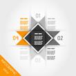 orange infographic four multi-triangular template