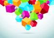 Abstract perspective background with colorful cubes
