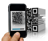 Mobile phone scanning a tridimensional barcode