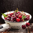 Cherries in colander