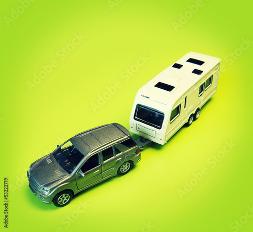toy car towing caravan