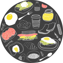 Round card with breakfast icons. Vector illustration set