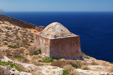 Gramvousa island fortress building, Crete, Greece