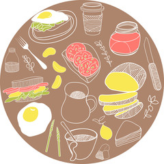 Card made of breakfast icons. Vector illustration set