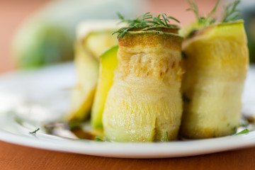 Zucchini rolls with fillings