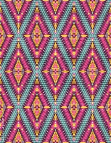 Hipster seamless colorful tribal pattern with geometric elements