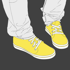 Legs in sneakers. Fashion vector illustration