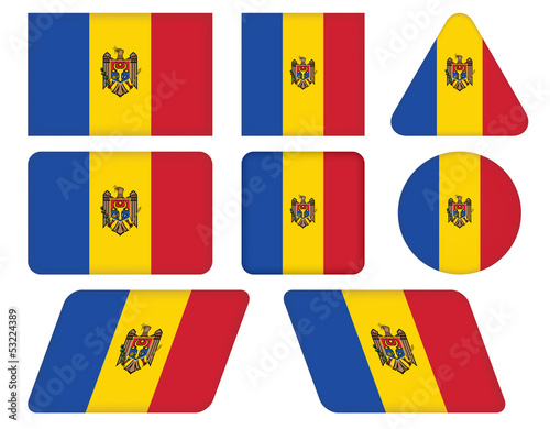 set of buttons with flag of Moldova