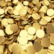 Golden shining blank coins renders - 3D background