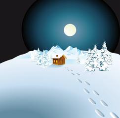 Berghütte im Schnee