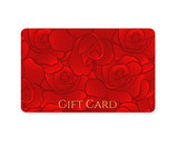 Red Business / Gift card template with rose pattern
