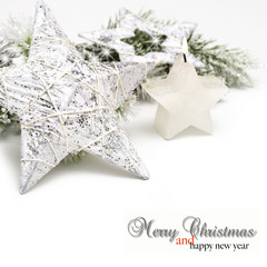Silver Christmas  stars and candle on white background