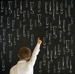 Hand up answer boy business man with chalk exclamation marks