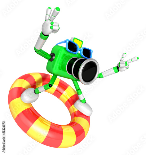 3d green Camera character surfing on lifebuoy. Create 3D Camera