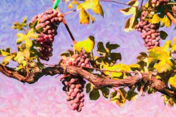 dipinto ad olio con vitigno