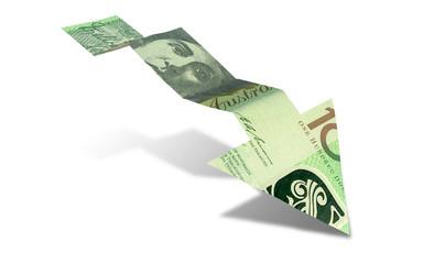 Australian Dollar Bank Note Downward Trend Arrow