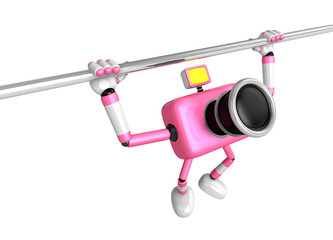 3D Pink Camera character is doing a vigorous horizontal bar work