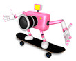 3D Pink Camera Character skateboarding riding . Create 3D Camera
