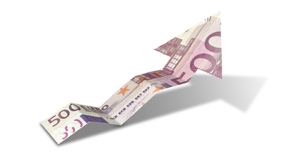 Euro Bank Note Upward Trend Arrow