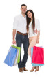 Portrait Of Young Couple Holding Shopping Bag