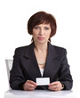 middle age woman showing card