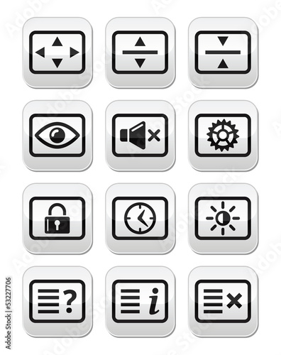 Computer tv monitor screen vector buttons set