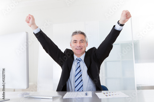 Mature Businessman Raising Arms