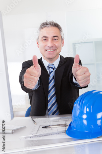 Male Architect Showing Thumb Up Sign