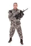 Mature Soldier Holding Rifle