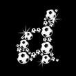 soccer balls letter - black edition -d